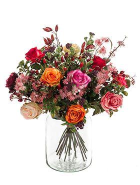 Kunstbloem - Bouquet flame roses